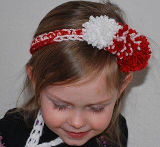 Peppermint Pom Pom Headband Free Crochet Pattern