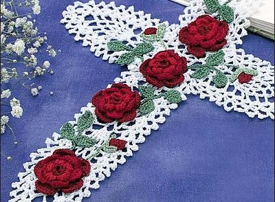 Pineapple Cross with Red Roses Free Crochet Pattern