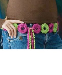 Pink & Green Boucle Circles Belt Free Crochet Pattern