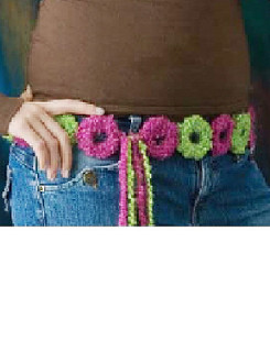 Pink & Green Boucle Circles Belt Free Crochet Pattern