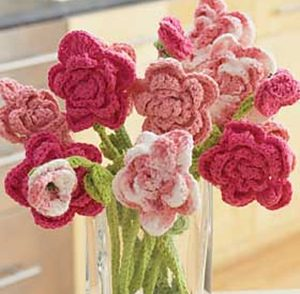 Pink Rose Bouquet Free Crochet Pattern