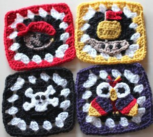 Pirate Granny Squares Free Crochet Pattern