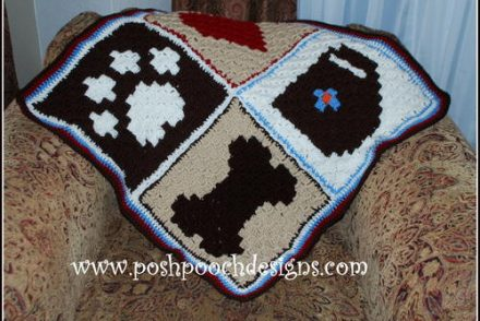 Pixel Graph Dog Blanket Free Crochet Pattern
