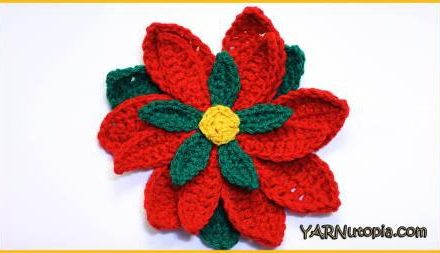 Poinsettia Flower Free Crochet Pattern