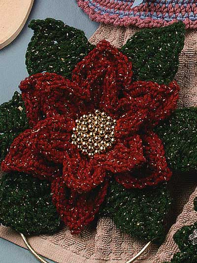 Poinsettia Towel Topper Free Crochet Pattern