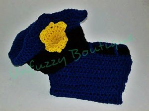 Police Hat and Diaper Set Free Crochet Pattern