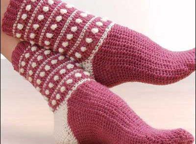 Polka Dot Popcorn Socks Free Crochet Pattern