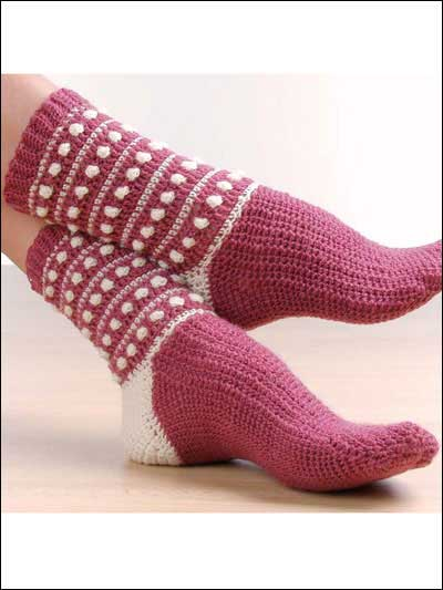 Polka Dot Popcorn Socks Free Crochet Pattern - Craft ideas for ...