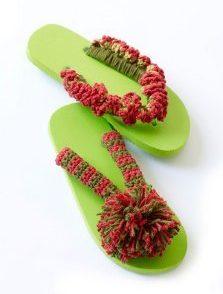 Pom Pom Flip Flops Free Crochet Pattern