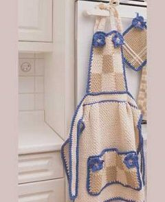 Purple and Beige Pansy Apron Free Crochet Pattern