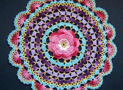 Radiant Rose Mandala Doily Free Crochet Pattern