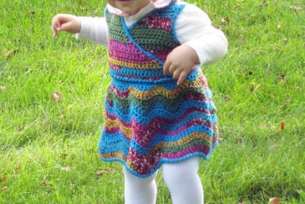 Rainbow Ripple Wrap Baby Dress Free Crochet Pattern