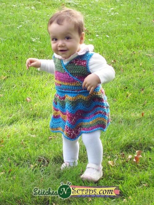 Rainbow Ripple Wrap Baby Dress Free Crochet Pattern