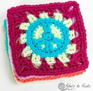 Retro Peace Sign Square Free Crochet Pattern