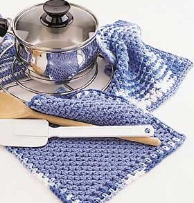 Simple Border Pot Holder & Dishcloth Free Crochet Patterns