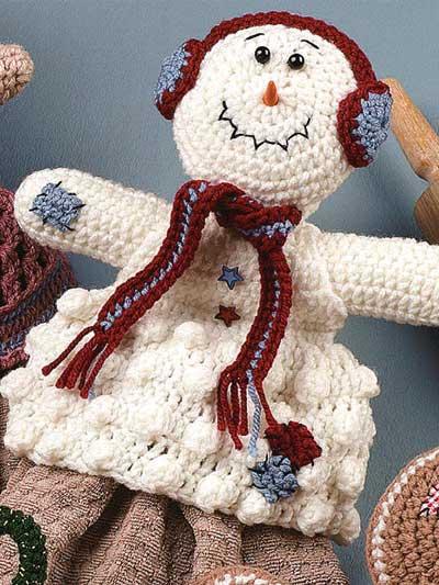 Snowman Towel Topper Free Crochet Pattern