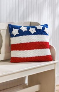 Stars and Stripes Pillow Free Crochet Pattern
