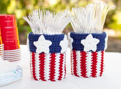Stars and Stripes Utensil Crock Free Crochet Pattern