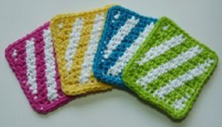 Striped Summer Coasters Free Crochet Pattern