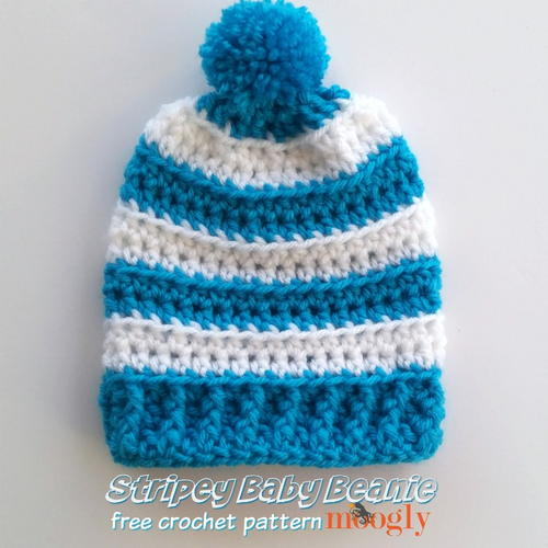 Stripey Baby Beanie Free Crochet Pattern