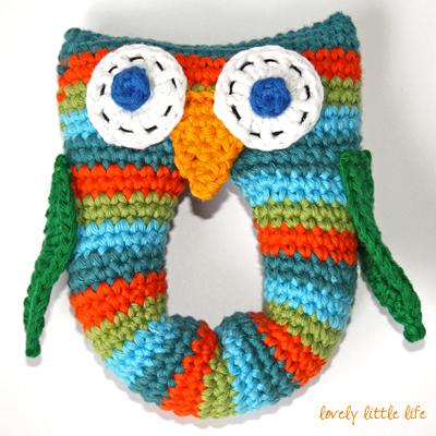 Stripey Owl Baby Rattle Free Crochet Pattern