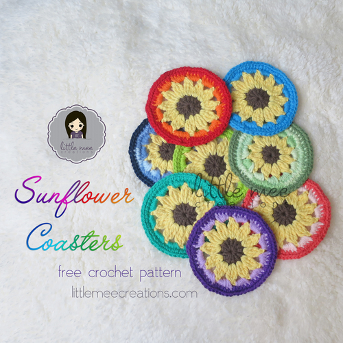 Sunflower Coaster Free Crochet Pattern
