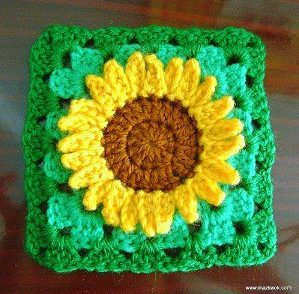 Sunflower Granny Square Free Crochet Pattern