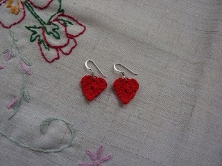 Sweetheart Earrings Free Crochet Pattern