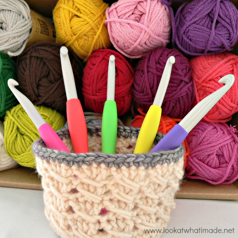 Tiny Cable Stitch Basket Free Crochet Pattern