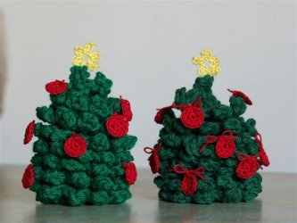Tiny Tree Ornaments Free Crochet Pattern
