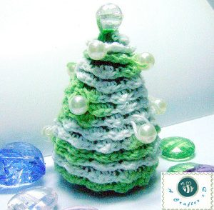 Vintage Pearl Pine Tree Decoration Free Crochet Pattern