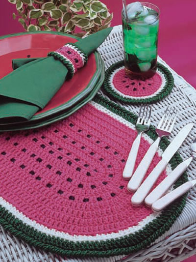 Watermelon Place Mat Set Free Crochet Pattern