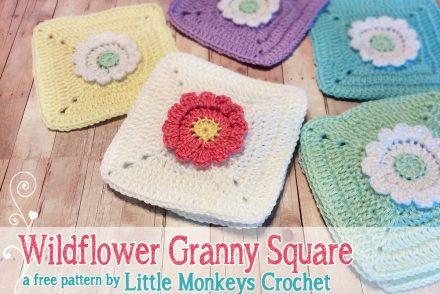 Wild Flower Granny Square Free Crochet Pattern